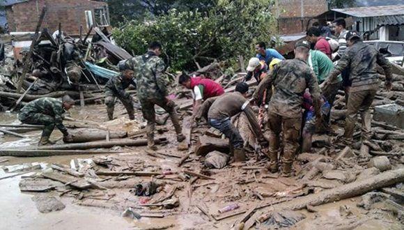 Labores de rescate y salvamento tras las fuertes lluvias.