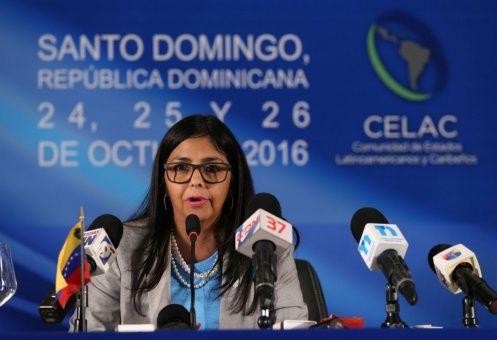La canciller venezolana solicitó la reunión a la República de El Salvador, país que ostenta la presidencia pro tempore de la Celac.