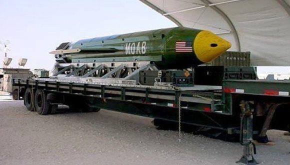 Imagen facilitada por el ejército de EE UU de la GBU-43/B Massive Ordnance Air Blast bomb. Foto: Reuters.