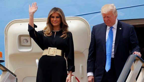 Donald Trump y Melania Trump llegan a Riad, Arabia Saudita. Foto: Reuters.