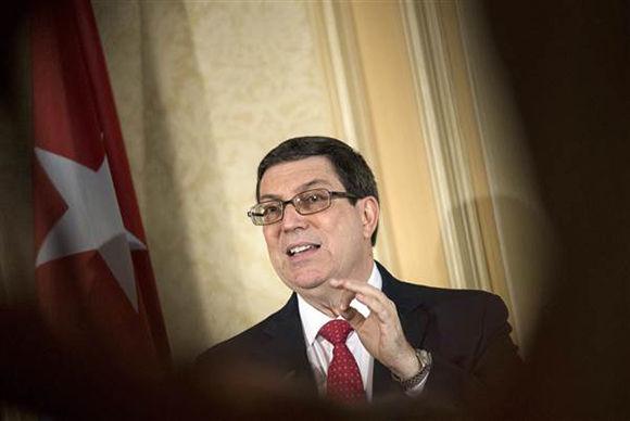 Bruno Rodríguez ofrece una conferencia de prensa desde Viena, Austria. Foto: @JosefinaVidalF