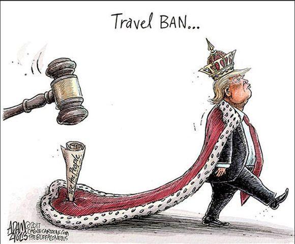Prohibición de viajes. Adam Zyglis en Bufalo News