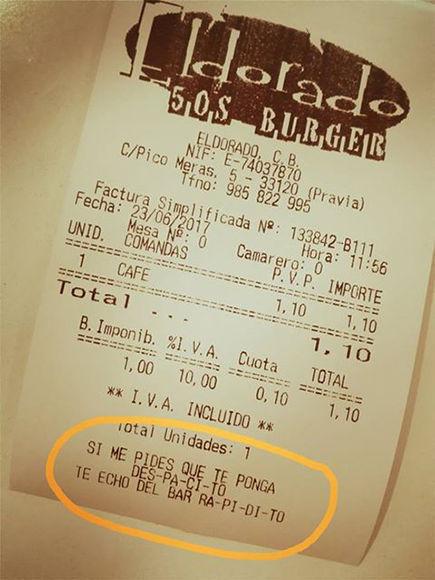Ticket del bar asturiano para que los clientes no le pidan la canción de Luis Fonsi y Daddy Yankee. Foto tomada de la página del bar en Facebook.
