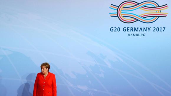 La canciller alemana, Angela Merkel, recibió a los líderes que participan en el G20. Foto: Reuters.