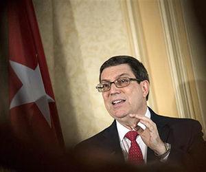 Bruno Rodríguez ofrece una conferencia de prensa desde Viena, Austria. Foto: EFE.