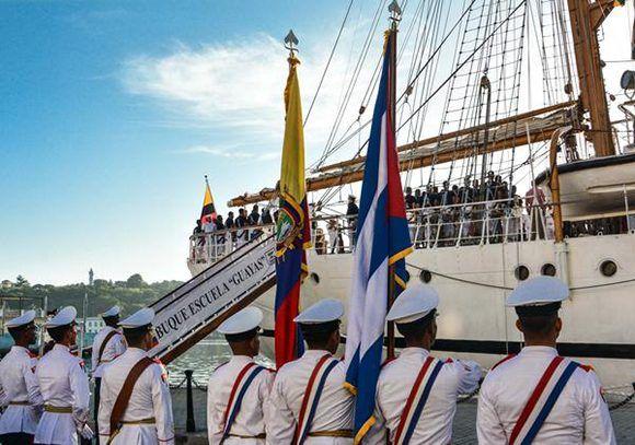 Arribo del Buque Escuela Guayas de la armada de la República del Ecuador, al Puerto de La Habana, en visita oficial. Foto: Marcelino Vázquez/ ACN.