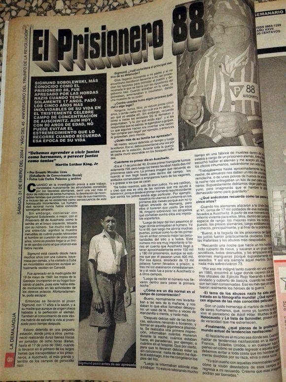 Entrevista a Sigmund Sobolewski, publicada por La Demajagua el 31 de enero de 2004. Foto: Luis Carlos Palacios Leyva/ La Demajagua.