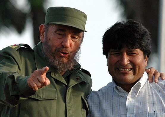 Fidel Castro y Evo Morales.