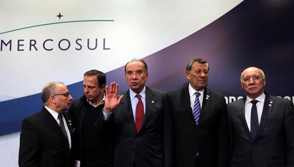 Jorge Faurie, Eladio Loizaga, Aloysio Nunes Ferreira y Rodolfo Nin Novoa, hoy, en Sao Paulo, Brasil. Foto: Reuters.