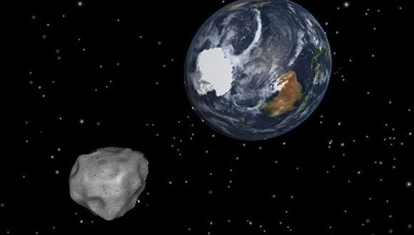 Simulación del acercamiento de un asteroide a la Tierra. Foto: NASA.