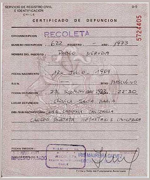 Certificado de defunción de Pablo Neruda, expedido el 23 de septiembre de 1973. Foto: Prensa Latina.